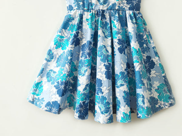 Floral Blue Strap Cute Retro Sundress