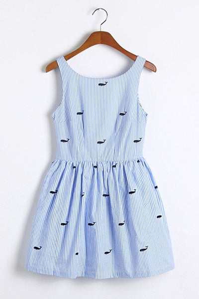 【Back in Stock】Whale Prints Striped Cute Retro Sundress
