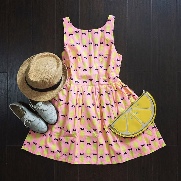 Cartoon Lemon Prints Cute Retro Sundress