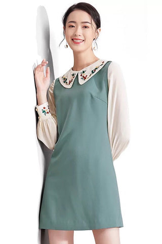 Embroidery Dolly Collar Long-Sleeved Dress