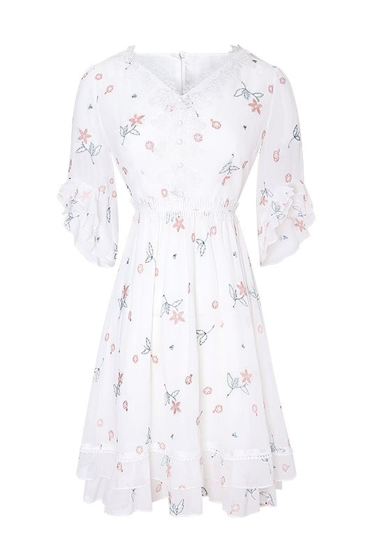Lace V-Neck Ruffle Sleeve Floral Dress