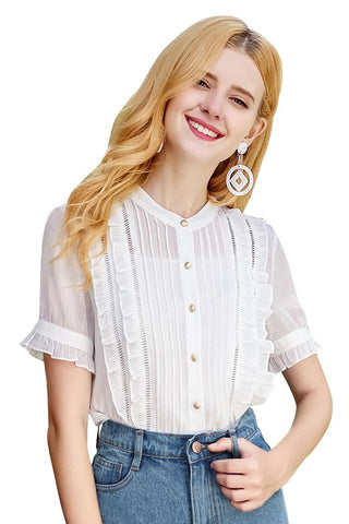 3 Colors Ruffle Eyelet Chiffon Shirt