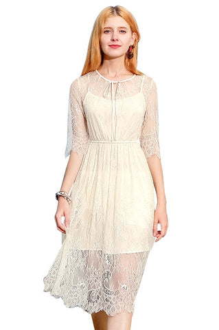 Apricot See Through Lace Dress
