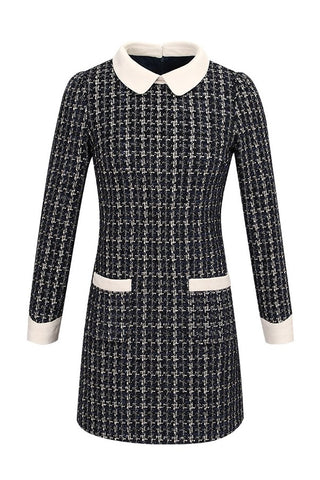 Peter Pan Collar Tweed Fleece Lining Dress