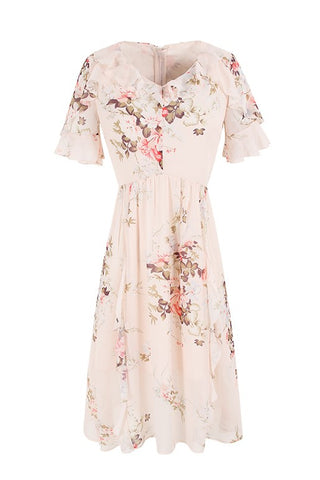 Ruffle V-Neck Floral Midi Dress