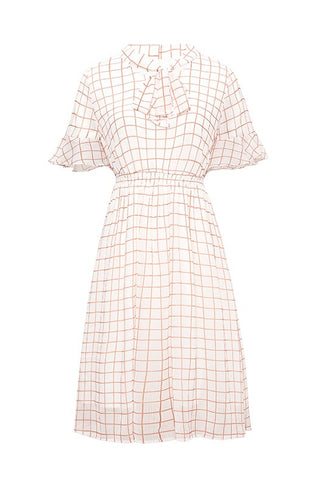 Bow V-Neck Chiffon Check Dress