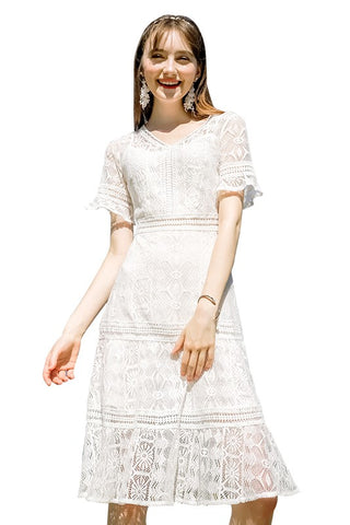 V-Neck Cut-Out Lace Dress