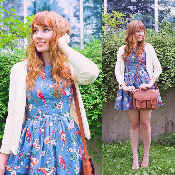 【Almost Gone】Blooming Spring Floral Bird Cute Retro Sundress