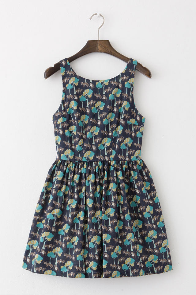 Forest Fox Cute Retro Sundress