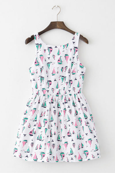 Ship Whale Print Cute Retro Sundress