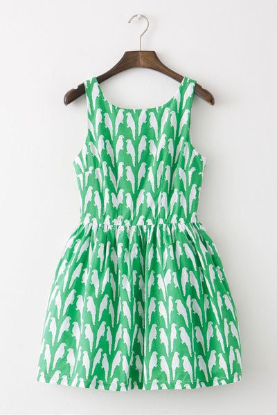 Parrot Prints Green Cute Retro Sundress