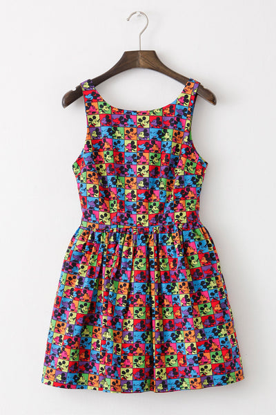 Mickey Mouse Check Cute Retro Sundress