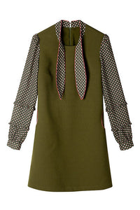 Tie Neck Polka Dots Shift Dress