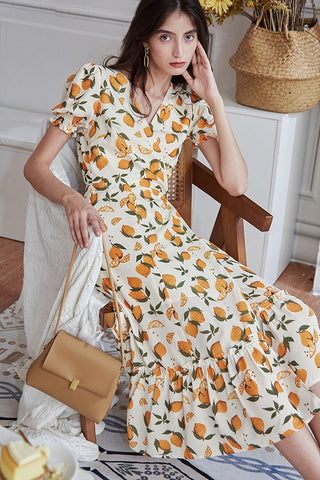 Lemon Midi Wrap Dress