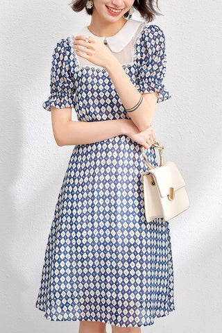 Dolly Collar Check Chiffon Dress