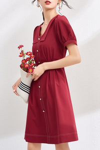 Heart Button Retro Lapel High Waist Dress