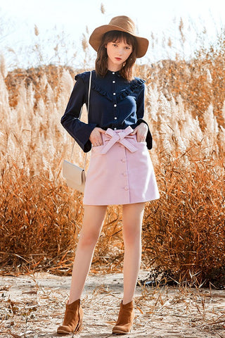 Bow Button Front Pink Woolen Skirt