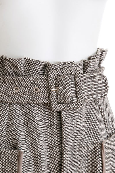 Ruffle High Waist Woolen Shorts