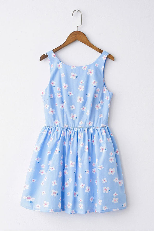 Floral Baby Blue Cute Retro Sundress
