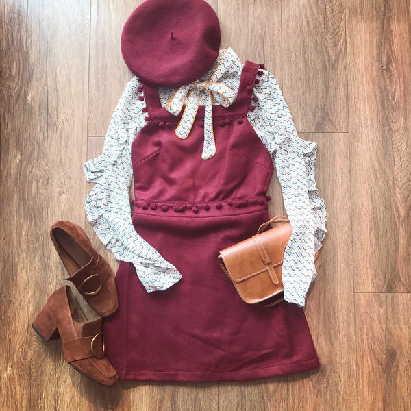 Tassel High Waist Overall Dress