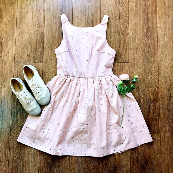 【Back in Stock】Nature Print Pink Cute Retro Sundress