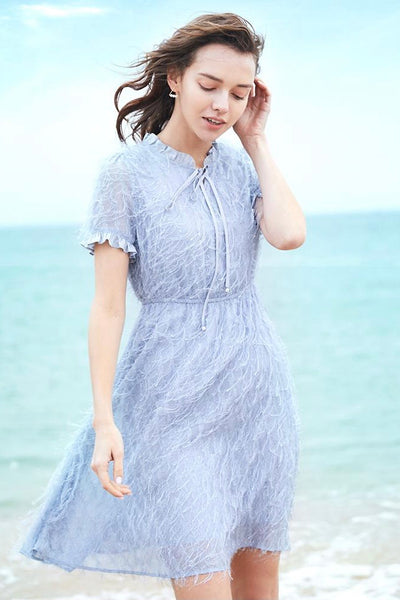 【Almost Gone】Ruffle Bow Neck False Two Dress