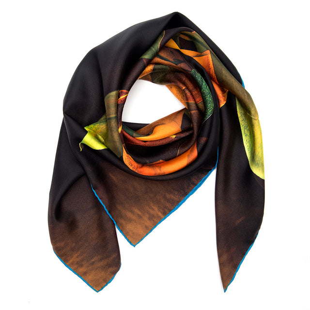 SILK SCARF ORANGE RAIN