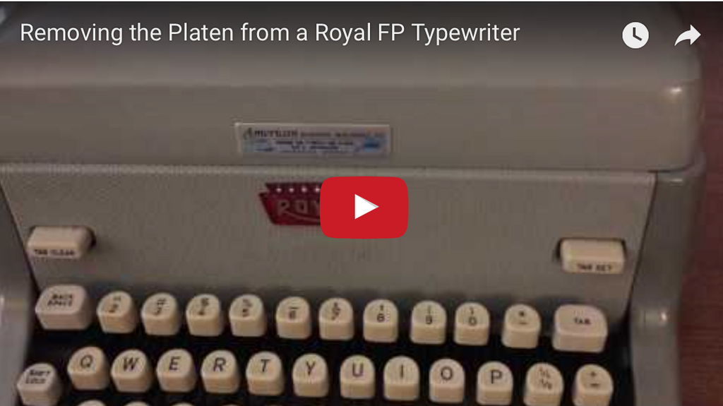 How to Remove a Platen from a Royal FP Typewriter