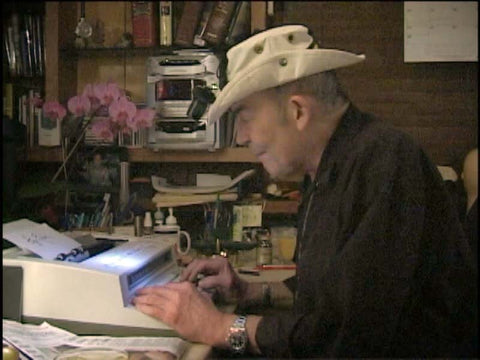 Hunter Thompson using an IBM Wheelwriter typewriter