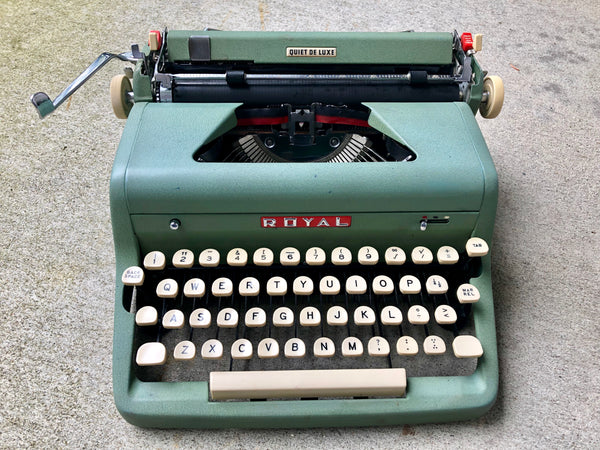 Refurbished Green Royal Quiet Deluxe Portable Manual Typewriter with Math Symbols