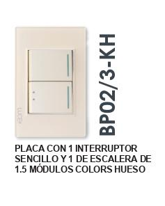 PLACA  CON 1 INTERRUPTOR SENCILLO Y 1 DE ESCALERA DE 1.5 MÓDULOS COLORS HUESO MATE