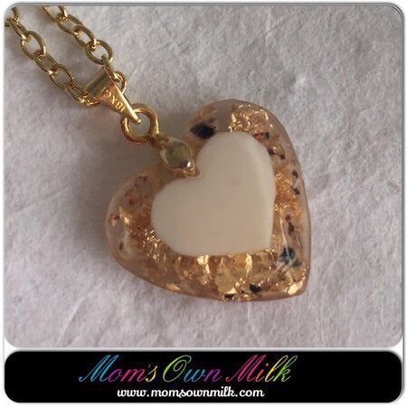 18 mm heart - Single Inclusion Resin: Own Design (PGP) - Mom's Own Milk