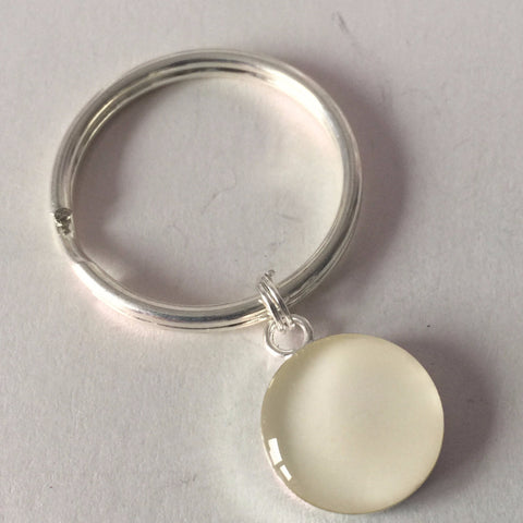 Silver Plated Keyring 16 mm Single Inclusion: Own Design - Mom's Own Milk