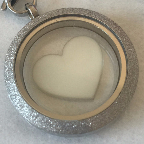 30 mm Round Sparkle Edge Glass Locket: Single Inclusion - Own Design (PST) - Mom's Own Milk
