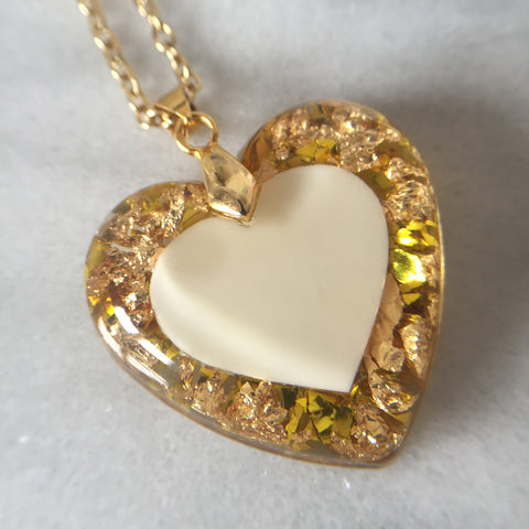 35 mm Heart - Large Breastmilk Heart and 24ct Gold Leaf (PGP) - Mom's Own Milk
