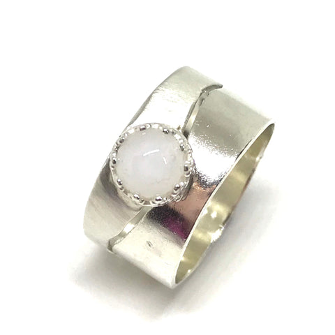 Glass Cabochon Coastline Ring  - Sterling Silver