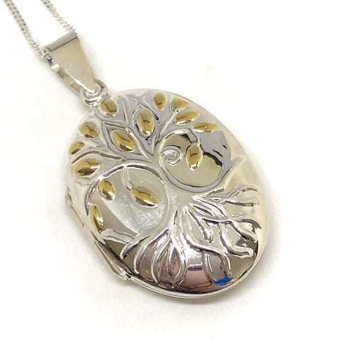 Tree of Life Locket (Glass) - Sterling Silver