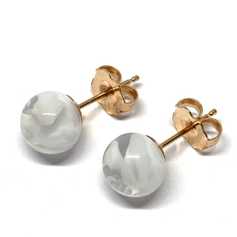 Glass Earrings - Sterling Silver and 9ct Gold