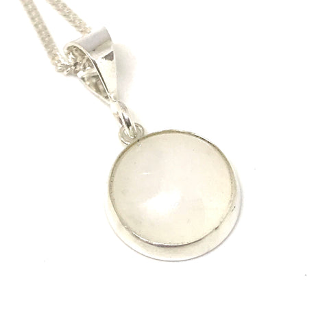 Bezel Set Glass Cabochon Pendant - Sterling Silver