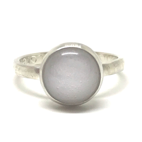 Glass Cabochon Bezel Ring - Sterling Silver