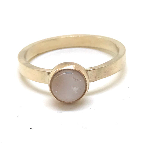 Glass Cabochon Stacking Ring - 9ct Gold