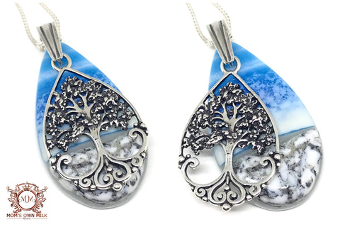 Artisan Tree of Life Glass Pendant - Sterling Silver