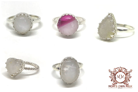 Crown Set Glass Cabochon Ring - Sterling Silver