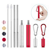 Personalised Engraved Reusable Telescopic Stainless Steel Metal Folding Drinking Straw