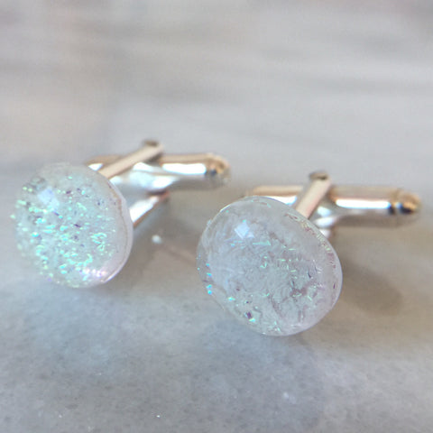 Sterling Silver & Glass Cabochon Cufflinks - Mom's Own Milk
