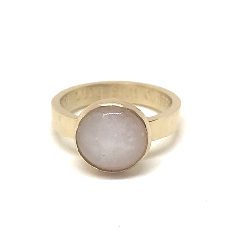 Glass Cabochon Ring - 9ct Gold