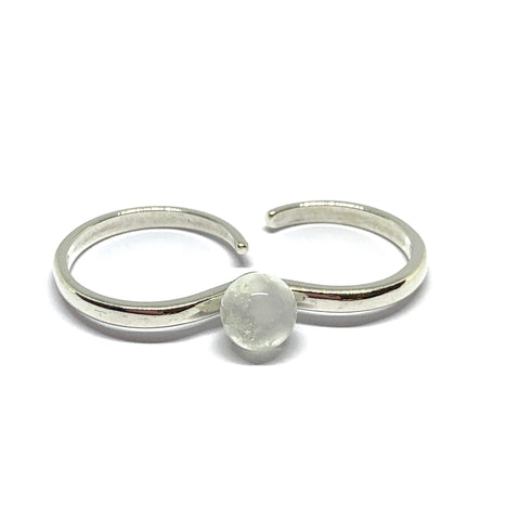 Two Finger Glass Ring - Sterling Silver