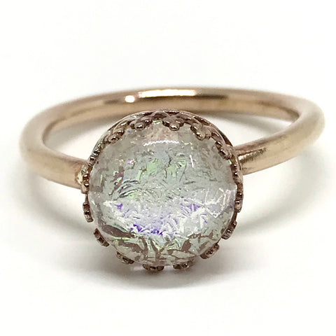 Crown Set Glass Cabochon Ring - Brass