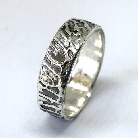 Sculpted Silver Fingerprint Ring