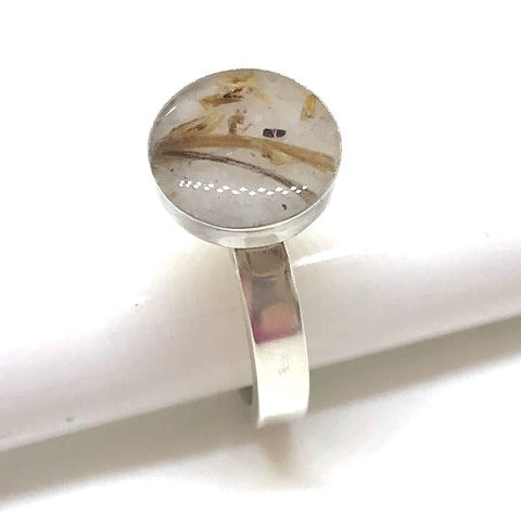 Glass and Inlay Bezel & Stacking Ring - Sterling Silver